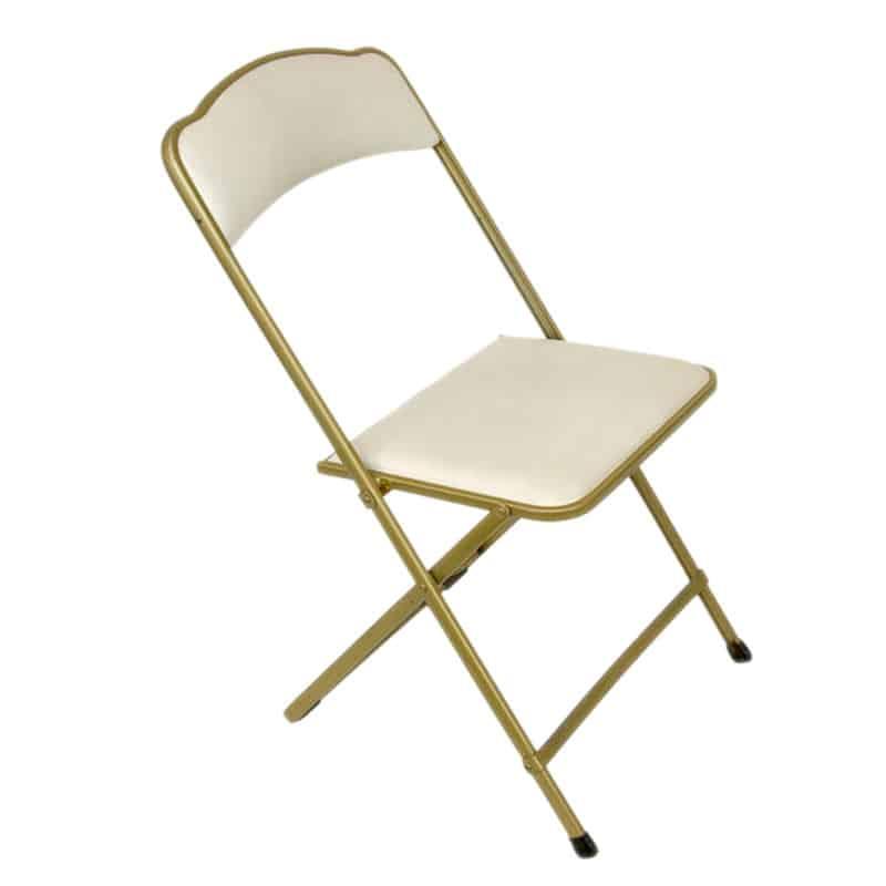 chaise blanche et or pliante assistance r ceptions location de mat riel queven. Black Bedroom Furniture Sets. Home Design Ideas